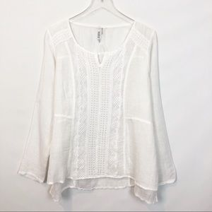Milla Embroidered White Linen Organdy Tunic Large